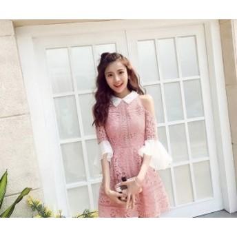 レディース 韓国ワンピース フリル袖 花柄レース 肩見せ 可愛い ピンク デート お出かけ