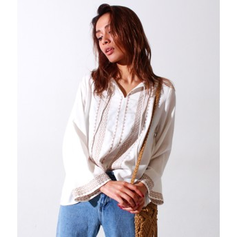 【セール開催中】ANAP(アナップ)刺繍タッセルフリンジシャツ
