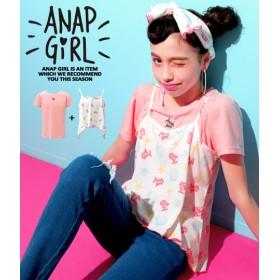 【セール開催中】ANAP GiRL(ティーンズ)オリジナルシェル柄Tシャツ&キャミソールSET