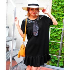 【セール開催中】ANAP(アナップ)NETオリジナル スカーフ付裾フリルワンピース