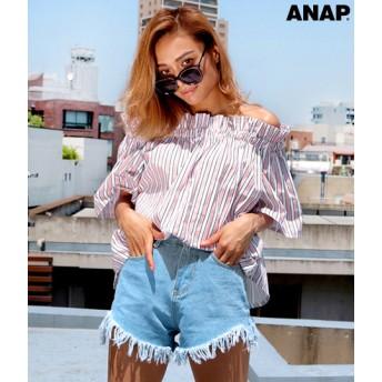 【セール開催中】ANAP(アナップ)カラーストライプオフショルトップス
