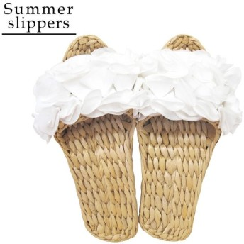 Summer slippers(サマースリッパ) ガマスリッパ フリル ホワイト 48510