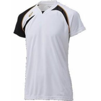 アシックス ゲームシャツHS 0190 ホワイト×ブラック(xw1318-0190)