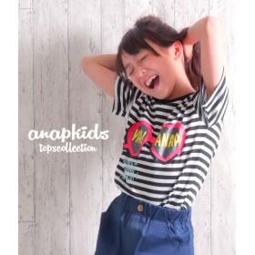 ANAP KIDS ハートサングラスプリントTシャツ