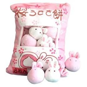抱き枕 可愛いうさぎ 縫いぐるみ 桜うさぎ餅お菓子袋型クッション おもちゃ 抱きまくら プレゼント 8枚入4050cm