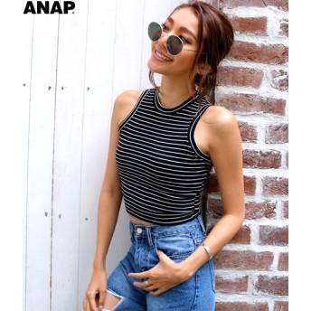 【セール開催中】ANAP(アナップ)ボーダーノースリーブトップス