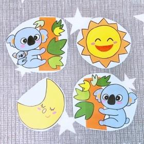 《カラーコピー素材》のぼるよコアラペープサートパネルシアター素材4枚セットハンドメイド保育教材知育玩具型紙パターン