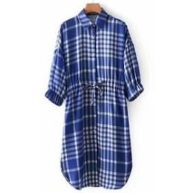 七分袖チェックシャツ トップス ウエストマーク  リボン付き ギャザリング  スリーブ ワンピース  ゆったり トレンド 襟付き  お出かけ