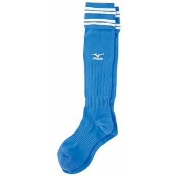 ミズノ JR サッカーストッキング 62UJ01018 62UJ010 ジュニアサッカーソックス ストッキング  靴下 D.サックス×ホワイト(62uj01018)