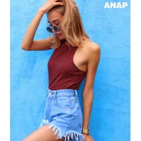 【セール開催中】ANAP(アナップ)ボーダー柄Yバックリブアメスリトップス