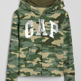Gap カモフラージュ スパンコールロゴ パーカースウェットシャツ