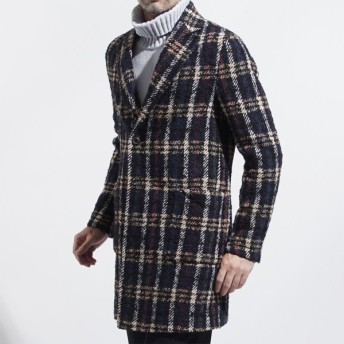 ティージャケット T-JACKET ツイード チェスター コート ブルー メンズ アウター 英国風 防寒 防寒着 デザイン クラシック 51c414j1-9276q-600