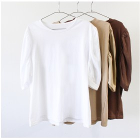 Tシャツ - MODE ROBE バルーンスリーブTシャツ ハーフスリーブTシャツ 無地 半袖 5分袖 シンプル ブラウン ホワイト ベージュ トップス 大人カジュアルキレイ ママ オフィス 旅行 大人 可愛い ママ 春 夏 新作