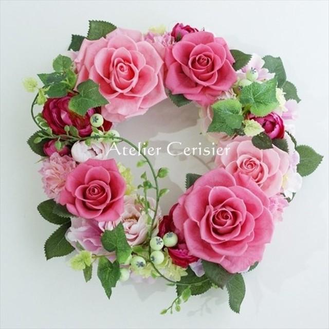 【母の日】プリザーブドフラワーリース<パルフェ>ピンク バラ