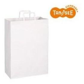(まとめ)TANOSEE 手提袋 平紐 白無地・特大 30枚入×10パック【配達日時指定不可】