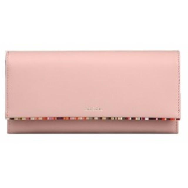 ff533711ba8a ポールスミス Paul Smith レディース 財布 クロスオーバーストライプトリム かぶせ 長財布 ピンク