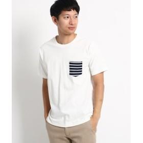 ベースステーション ポケット ボーダー 半袖Tシャツ メンズ アイボリー×ネイビー(004) 01(S) 【BASE STATION】