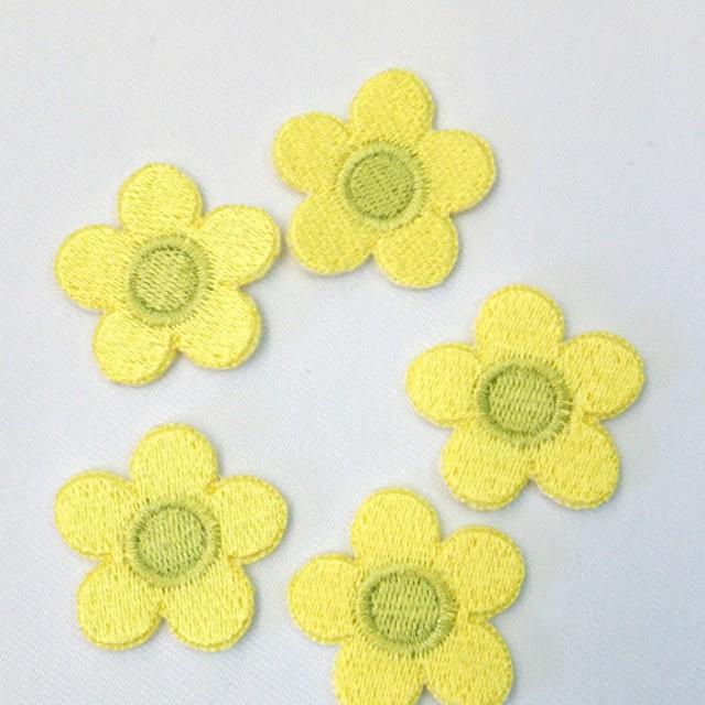 花のワッペン【イエロー】5枚セット