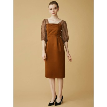 [LAGUNAMOON]LADY シアードットスリーブタイトドレス