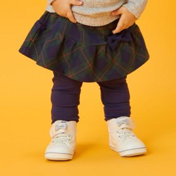 ミキハウス スカート付パンツ 紺×グリーン