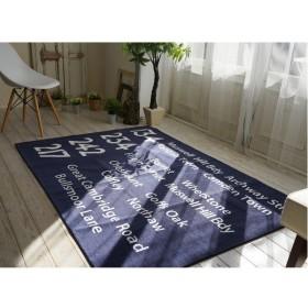 シェニールプリントラグ/絨毯 〔185cm×185cm ブルー〕 正方形 洗える 防滑 ポリエステル 『バスサイン』 〔リビング〕〔代引不可〕【配達日時指定不可】