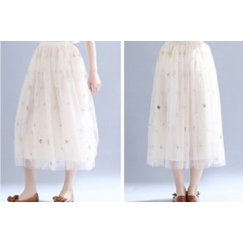 刺繍シフォンフレアスカート