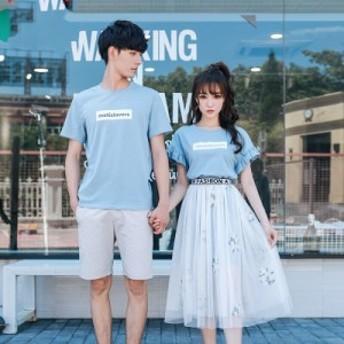 リンクコーデ カップル ペアルック Tシャツワンピース シースルースカート メンズシャツ 花柄 ガーリー 大人可愛い