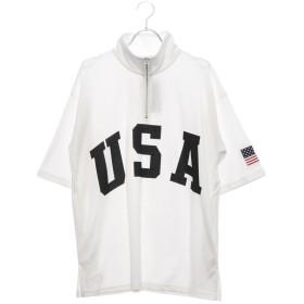 スタイルブロック STYLEBLOCK 星条旗USAロゴプリントビッグシルエットドロップショルダーハーフジップアップスタンド半袖Tシャツカットソー (オフホワイト)