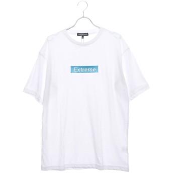 スタイルブロック STYLEBLOCK ビッグシルエットドロップショルダーボックスロゴ胸刺繍半袖Tシャツカットソー (オフホワイトC)