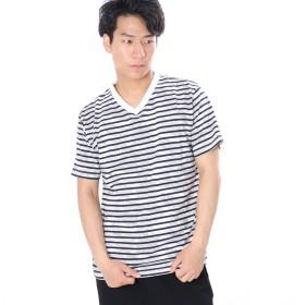 コンフォートインデックス COMFORT INDEX ボーダープリント半袖クルーTシャツ (ネイビー)