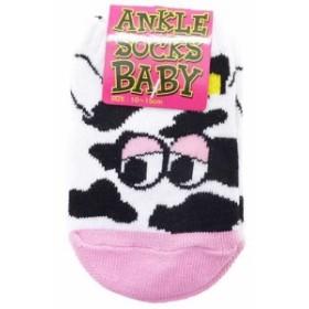 新生児靴下 ベビーアンクルソックス COW FACE うし柄フェイス 赤ちゃんSOCKSグッズ メール便可