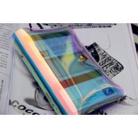 2WAYクリアパスポートケース/シンプル ミラーパスポートカバー/証明件 通行証 カード ビニールケース/原宿系/スマホ収納可能【G185】