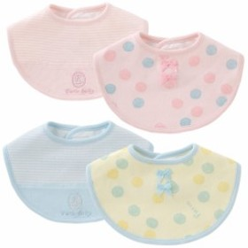 ドットボーダー2枚組スタイ[ベビー服][赤ちゃん][ベビー][スタイ][男の子][女の子][よだれかけ][ドット柄][ボーダー柄][出産祝い][綿]