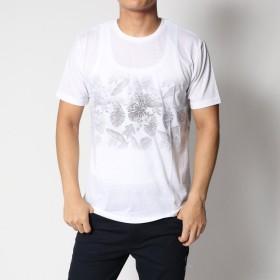 スタイルブロック STYLEBLOCK リーフ柄裏プリント半袖Tシャツカットソー (ブラック)