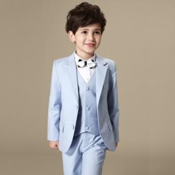 子供服 フォーマルスーツ スーツセット 上下セット キッズ 発表会 結婚式 入園式 卒業式 男の子 4点セット 定番 100-160cm ブルー 青い