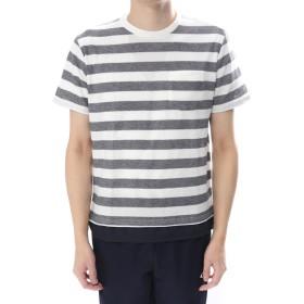 イグニオ IGNIO メンズ 梨地ボーダーTシャツ(半袖)