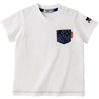 ミキハウス ペイズリーポケット半袖Tシャツ 白