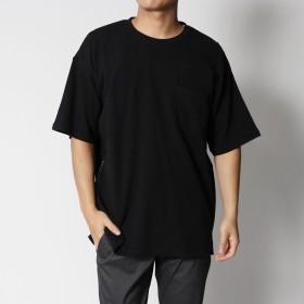 スタイルブロック STYLEBLOCK サイドジップコットンポンチポケット付きビッグシルエットドロップショルダー半袖Tシャツカットソー (ブラック)