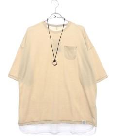 スタイルブロック STYLEBLOCK 裾フェイクレイヤードビッグシルエットドロップショルダー半袖Tシャツカットソー (ベージュ)
