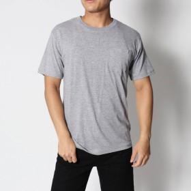 スタイルブロック STYLEBLOCK 綿100%クルーネックポケット付半袖Tシャツ (グレー)