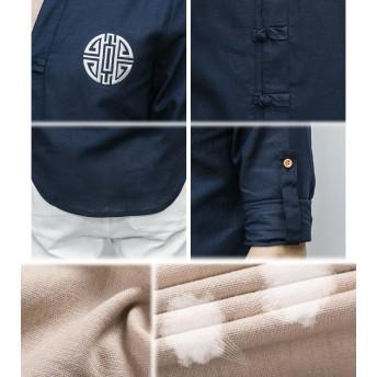 シャツ - BIG BANG FELLAS チャイナシャツ 長袖 捲り上げれるデザイン 半袖 メンズ メンズファッション ストリート系 カジュアル 春 夏 個性 中華