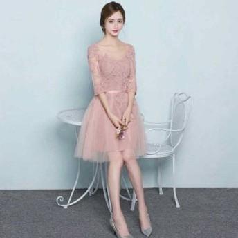 七分袖 チュールレース 花柄ワンピース ピンク 七分袖 ドレスワンピ チュールのふわふわパーティードレス ワンピース 結婚式 dpc0008