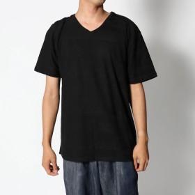 スタイルブロック STYLEBLOCK エスニックジャガードVネック半袖Tシャツカットソー (ブラック)