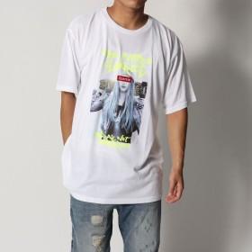 スタイルブロック STYLEBLOCK ビッグシルエットドロップショルダーガール蛍光ロゴプリント半袖Tシャツカットソー (オフホワイトB)