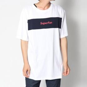 スタイルブロック STYLEBLOCK 綿100%モノトーン切替ブロッキングロゴプリント半袖Tシャツカットソー (ホワイト×ネイビー)