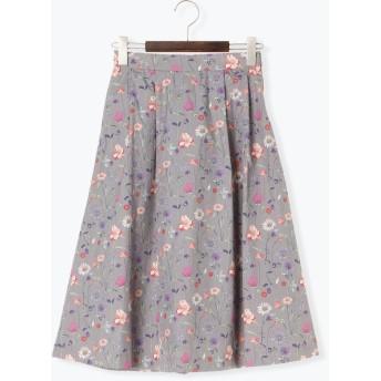 ひざ丈スカート - Te chichi libertyテクノヴィンテージ中花柄スカート