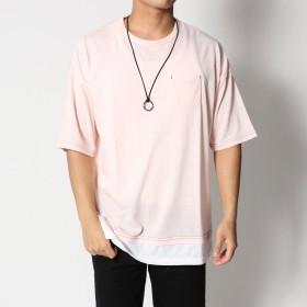 スタイルブロック STYLEBLOCK 裾フェイクレイヤードビッグシルエットドロップショルダー半袖Tシャツカットソー (ピンク)