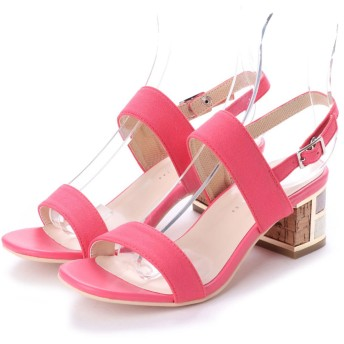 glitter プライベートレーベル PRIVATE LABEL 飾りヒール二本ベルトサンダル (ピンク)