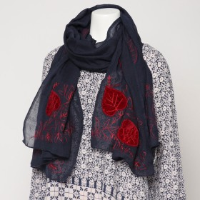 カンカン KANKAN ウールリーフ刺繍ショール (ブラック)