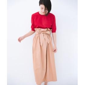 ハコ パッと着てかわいい ウエストリボンの楽ちんスカート レディース ベージュ LL 【haco!】